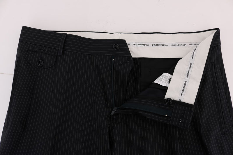 Blue Striped Wool Stretch Formal Pants