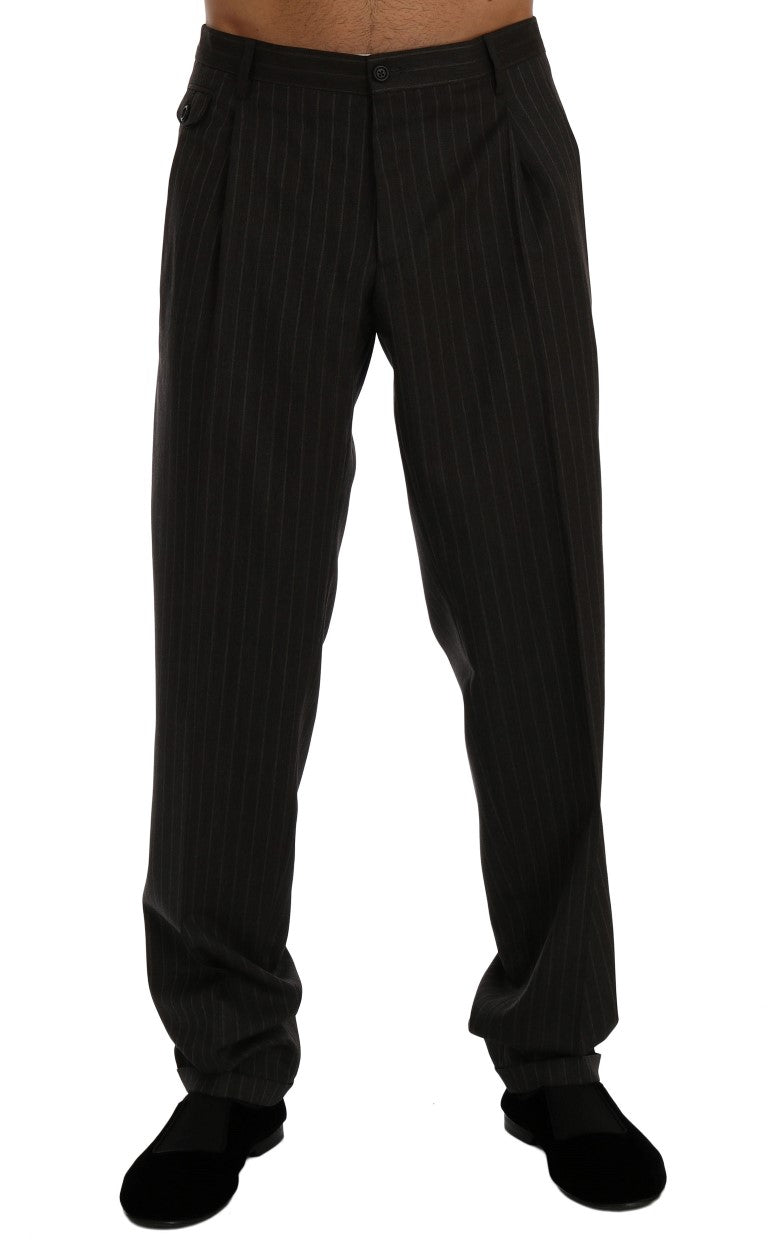 Gray Striped Wool Stretch Formal Pants