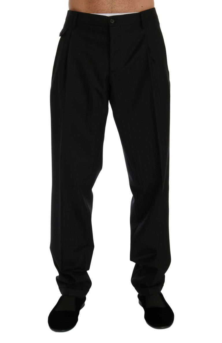 Black Striped Wool Stretch Pants