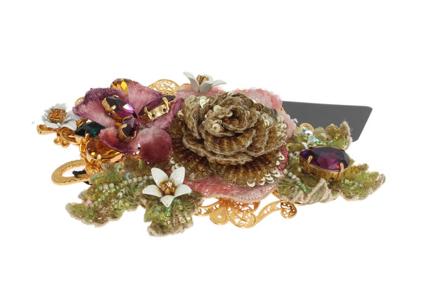 Multicolor Floral Crystal Gold Brass Hair Clip
