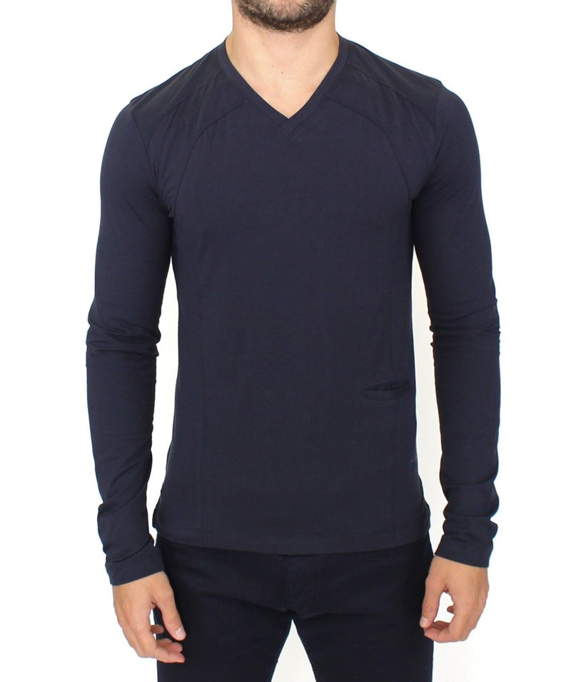 Blue Cotton Stretch V-neck Pullover Sweater