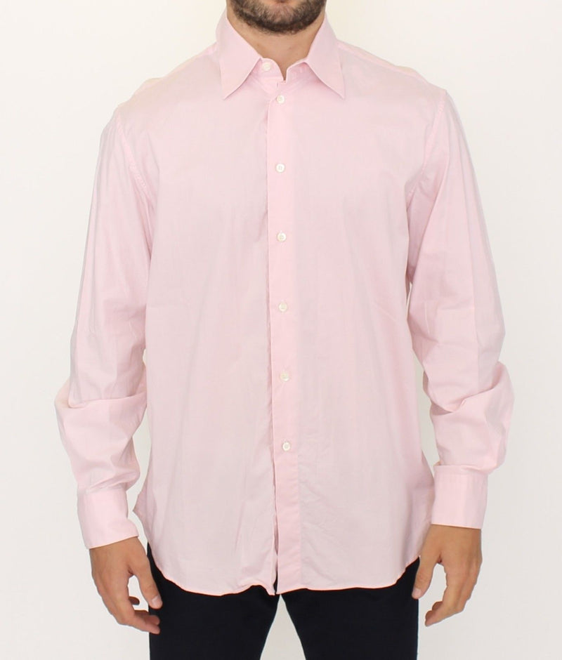 Pink Cotton Casual Long Sleeve Long Shirt