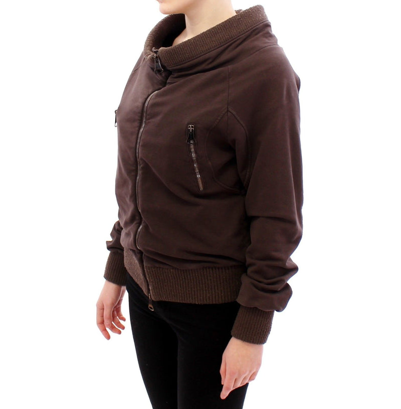 Brown Stretch Full Zip Sweater Jacket