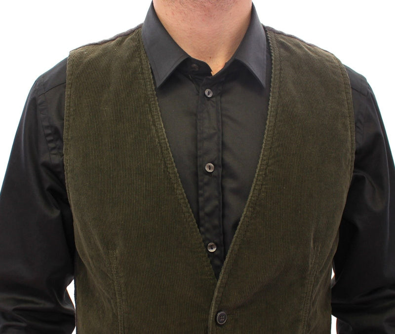 Green Corduroys Single Breasted Vest