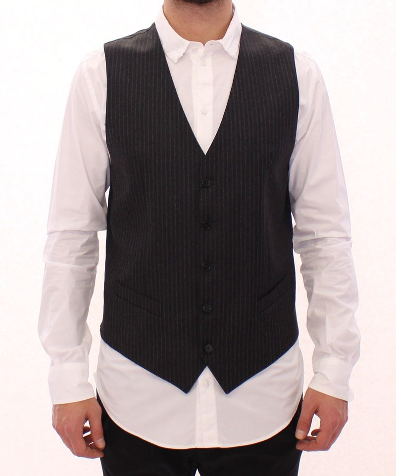 Gray Striped Wool Single Breasted Vest