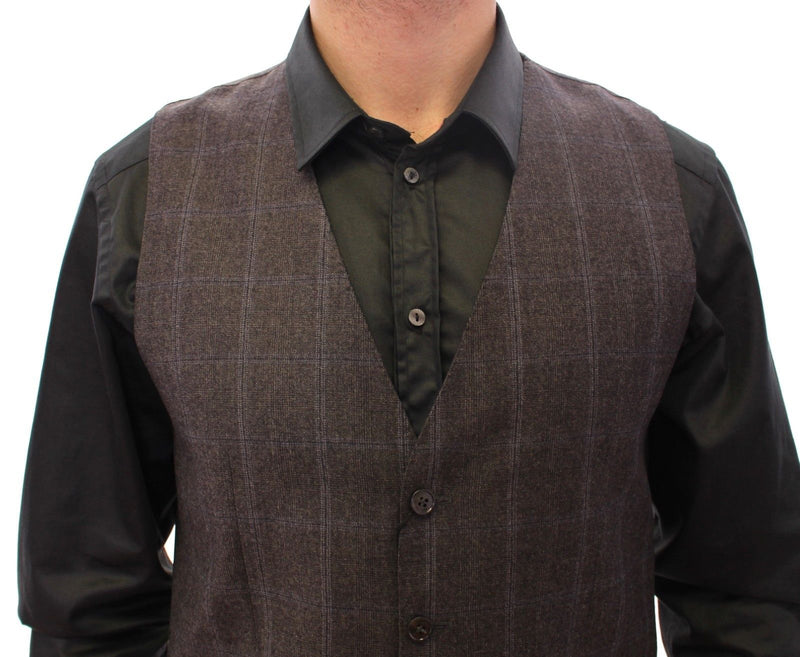 Brown Check Wool Single Breasted Vest