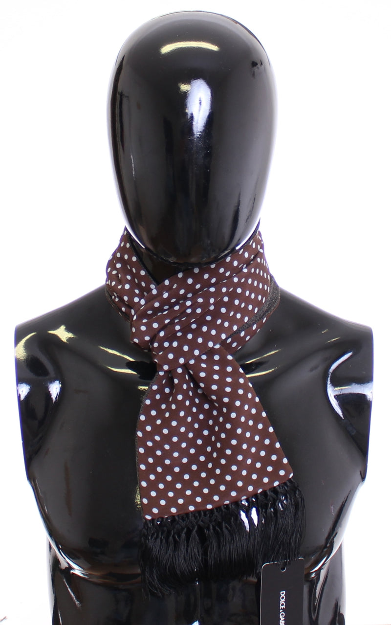 Scarf Men's Brown Polka Dotted Silk Wool