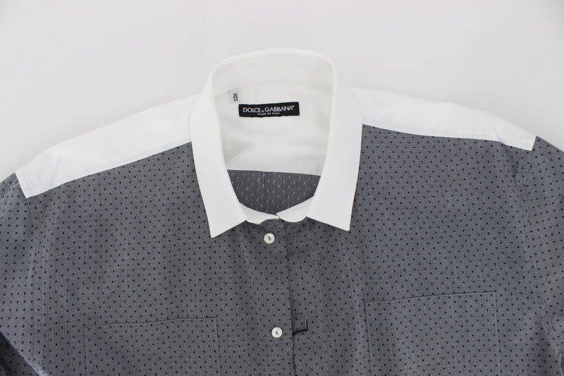 White Gray Dotted Cotton Casual Shirt