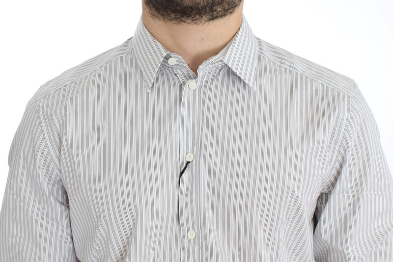 White Blue Striped GOLD Slim Fit Shirt