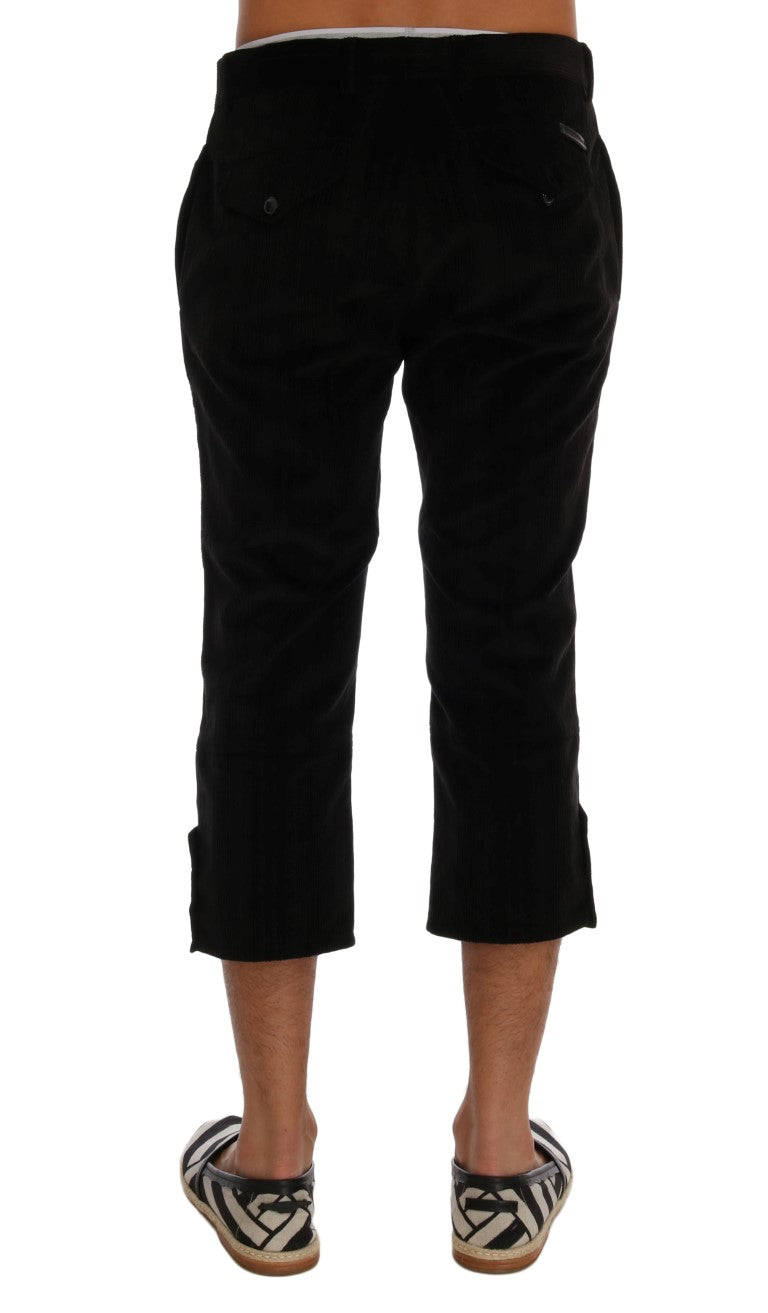 Black Cotton Striped Cropped Pants