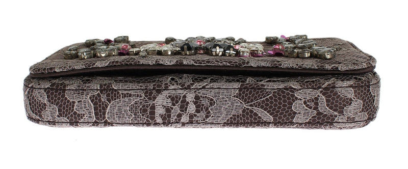 Gray Floral Lace Crystal Clutch Bag