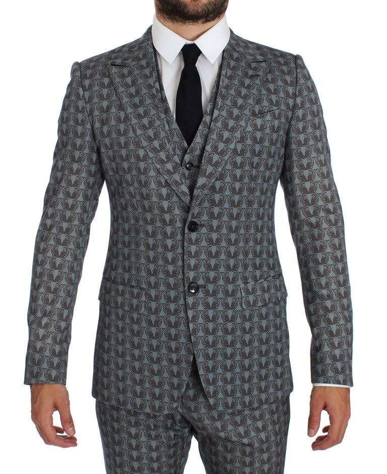 Blue Wool Owl Print Slim Fit 3 Piece Suit