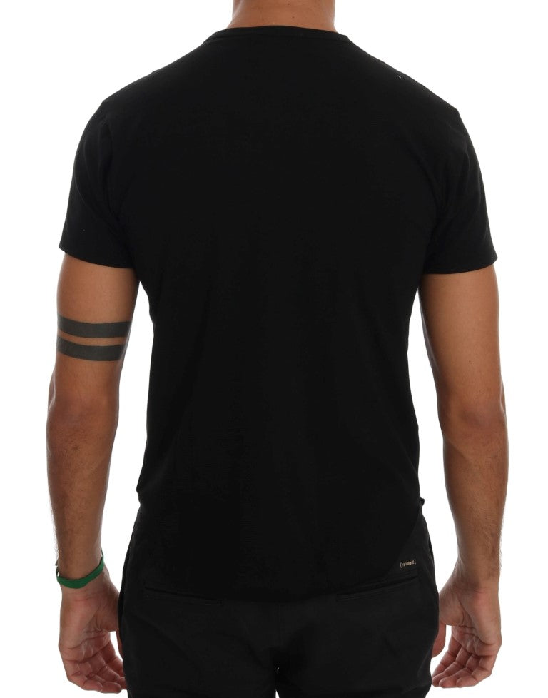 Black Cotton Crewneck T-Shirt