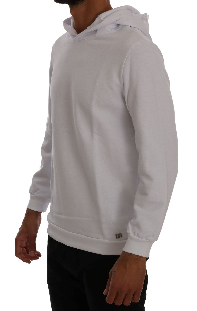 White Pullover Hodded Cotton Sweater