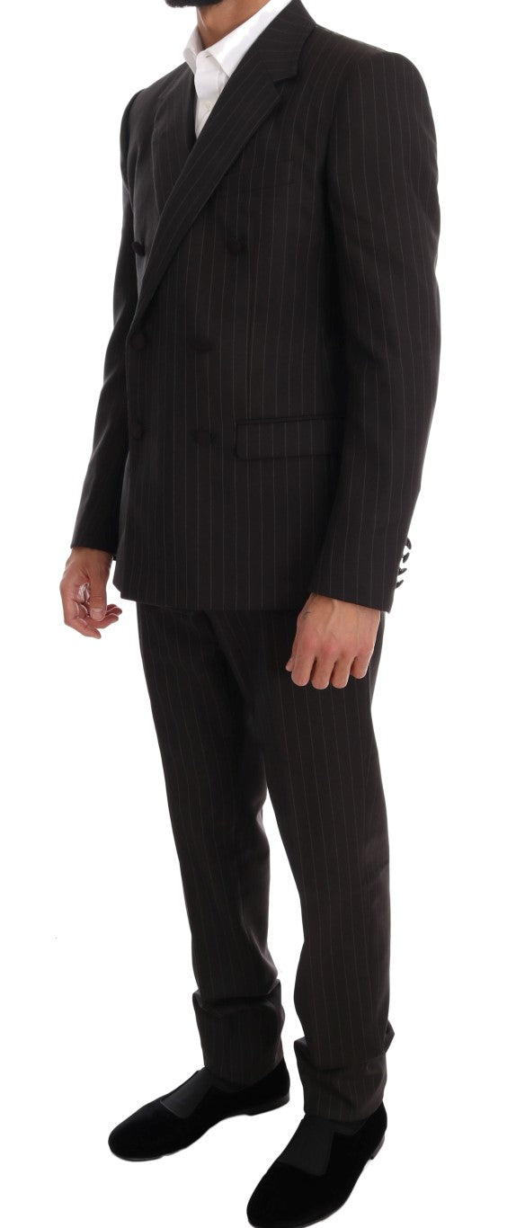 Brown Striped Double Breasted 3 Piece Suit