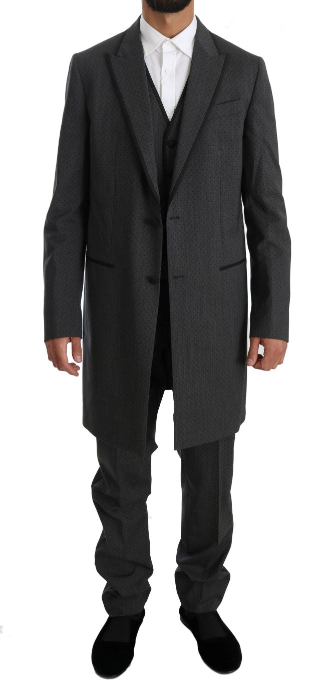 Gray Wool Long 3 Piece Two Button Suit