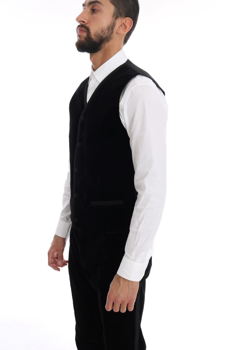 Black Velvet Double Breasted Slim Suit