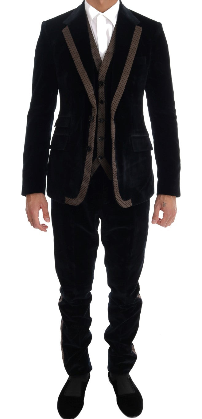Blue Velvet Two Button Slim 3 Piece Suit