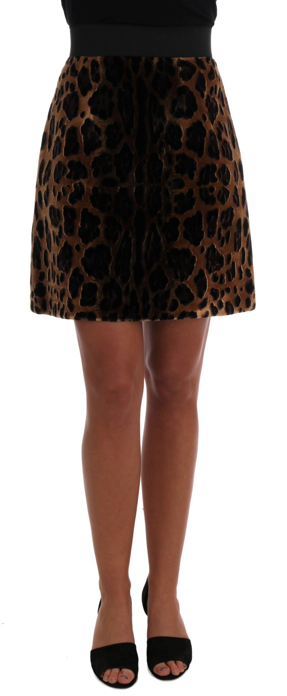 Brown Leopard Print Silk A-Line Skirt