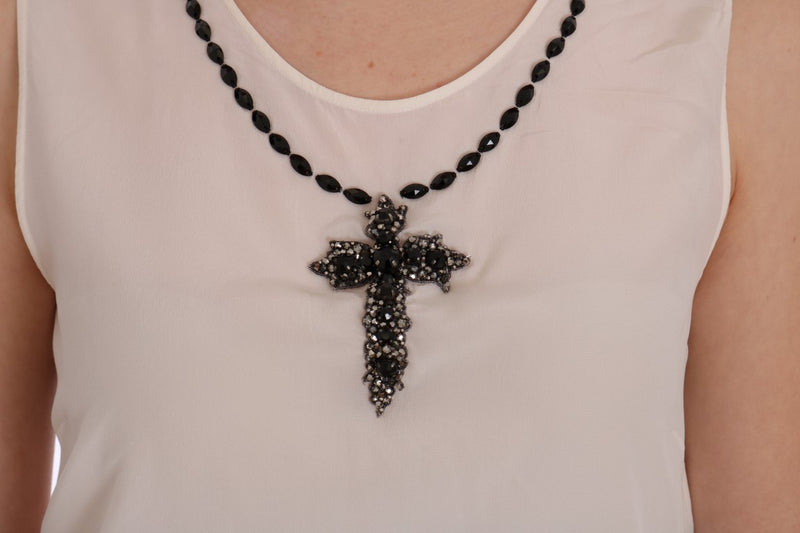 White Silk Black Crystal Cross Blouse