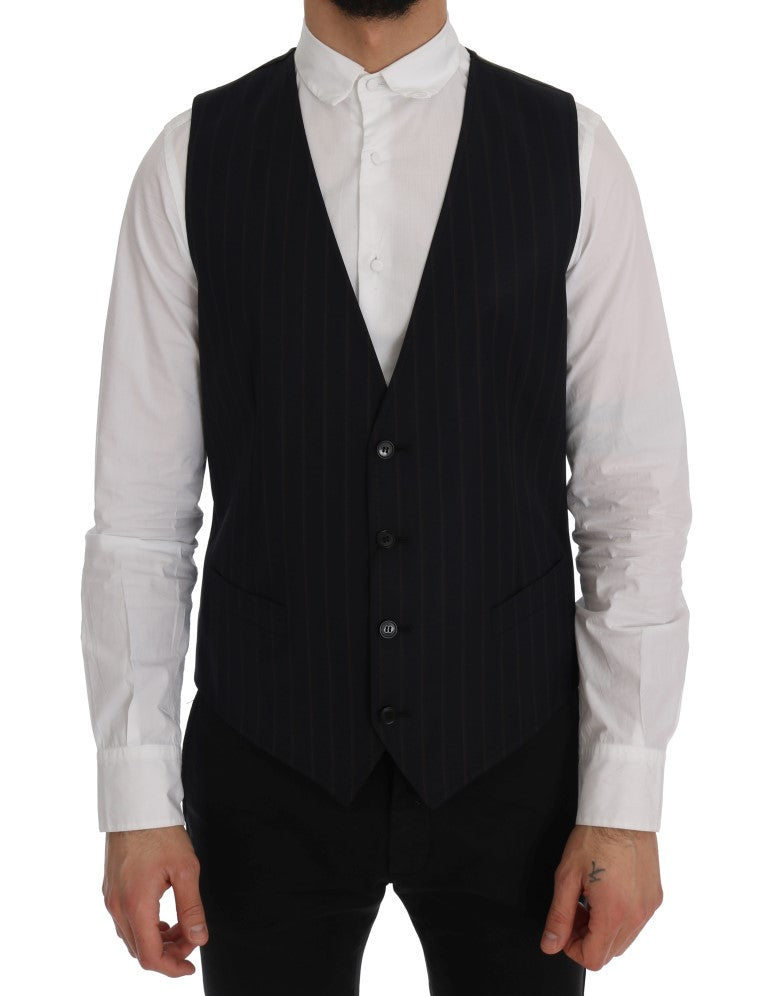 Blue Wool Stretch Vest