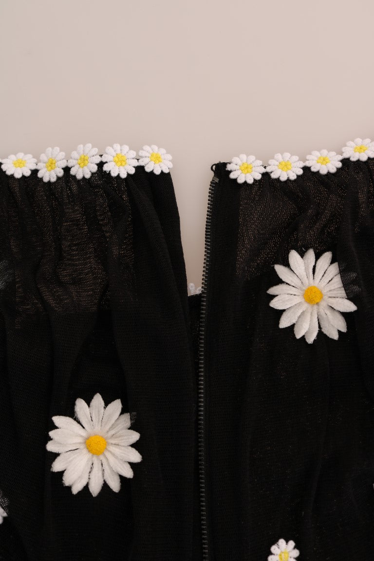 Black Silk Daisy Embroidered Dress
