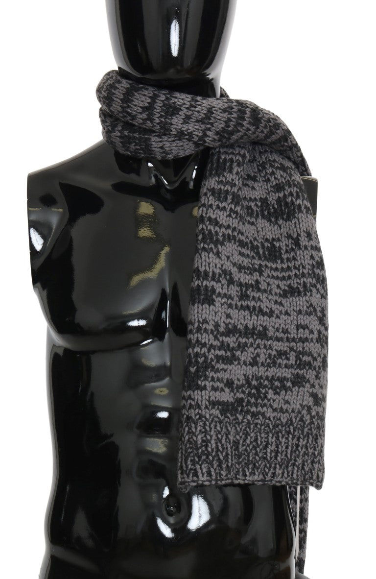 Black Gray Cashmere Patterned Scarf