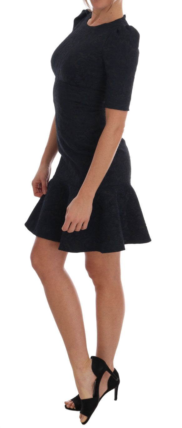 Black Blue Flare Mini Dress