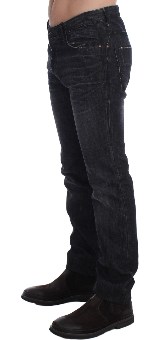 Gray Slim Fit Cotton Denim Pants Jeans