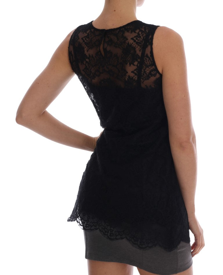 Black Sicily Embroidered Lace Blouse