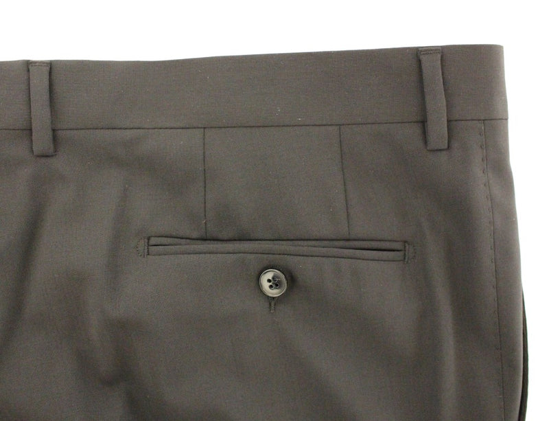 Black Wool Stretch Pleated Pants