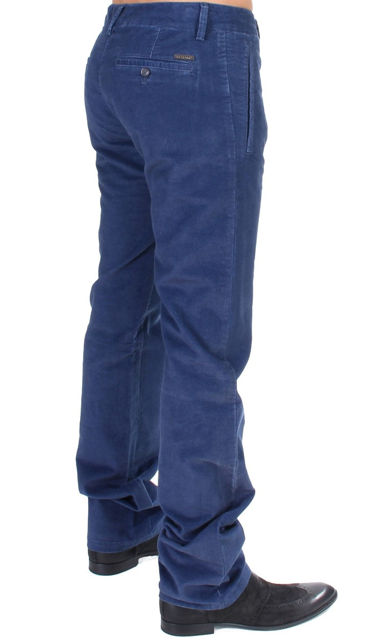 Blue Cotton Straight Fit Casual Pants