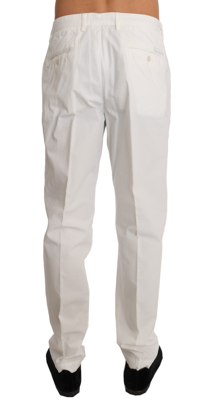 White Cotton Casual Trousers Pants