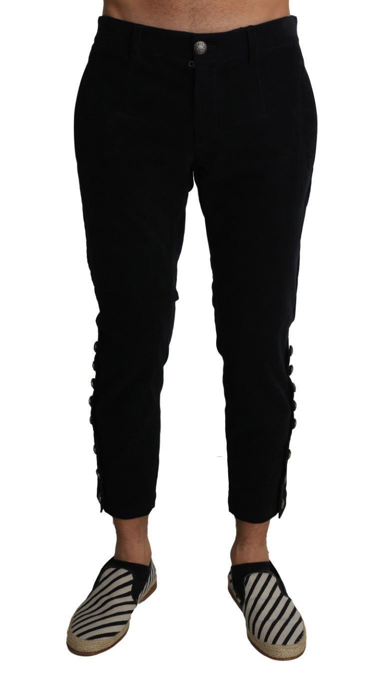 Black Wool Cropped Corduroys Trousers Pants