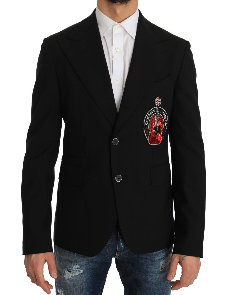 Black Wool Beaded Applique Jacket