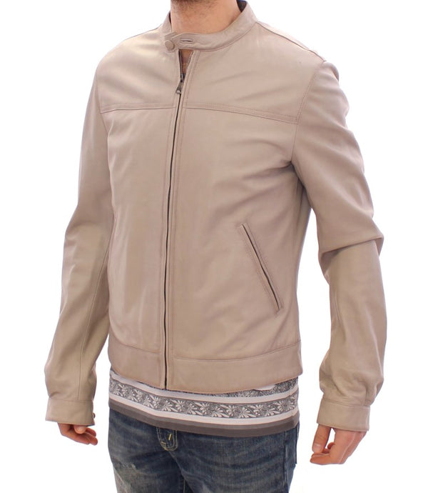 Beige Leather Jacket Biker Coat