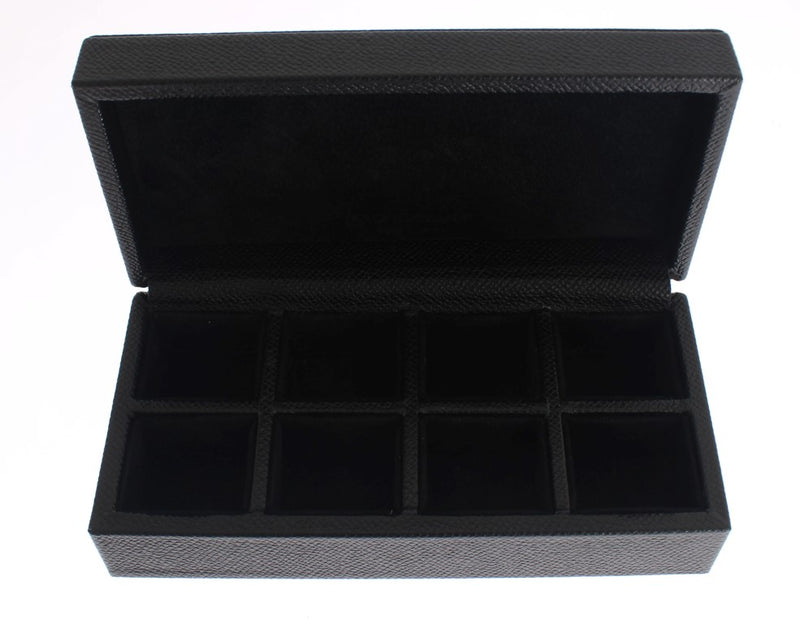 Black Leather Ring Cufflinks Organizer Box