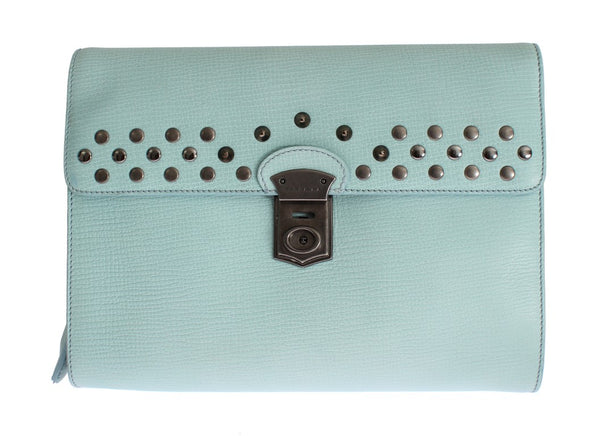 Blue Leather Studded Document Portfolio Briefcase Bag