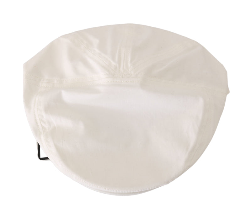 White Cotton Stretch Logo Newsboy Hat