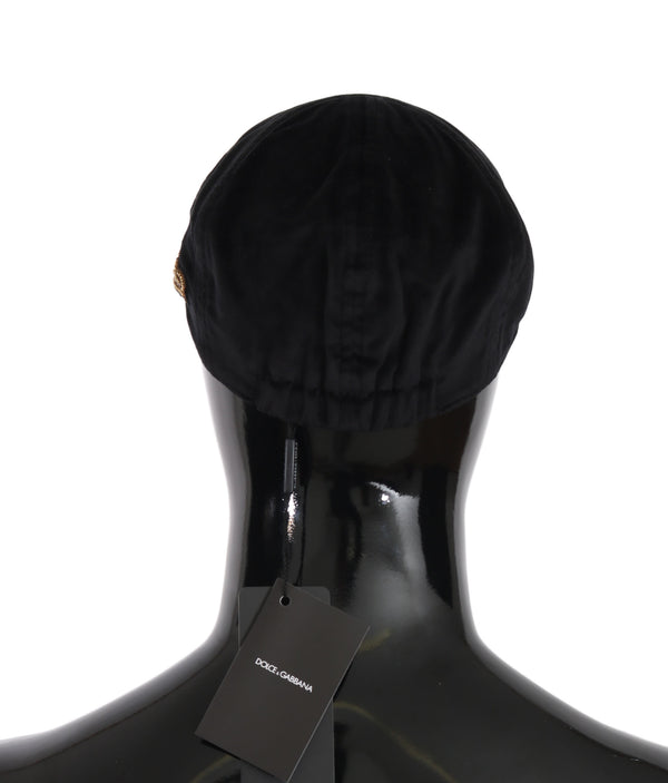 Black Velvet Copper Crown Logo Newsboy Cap