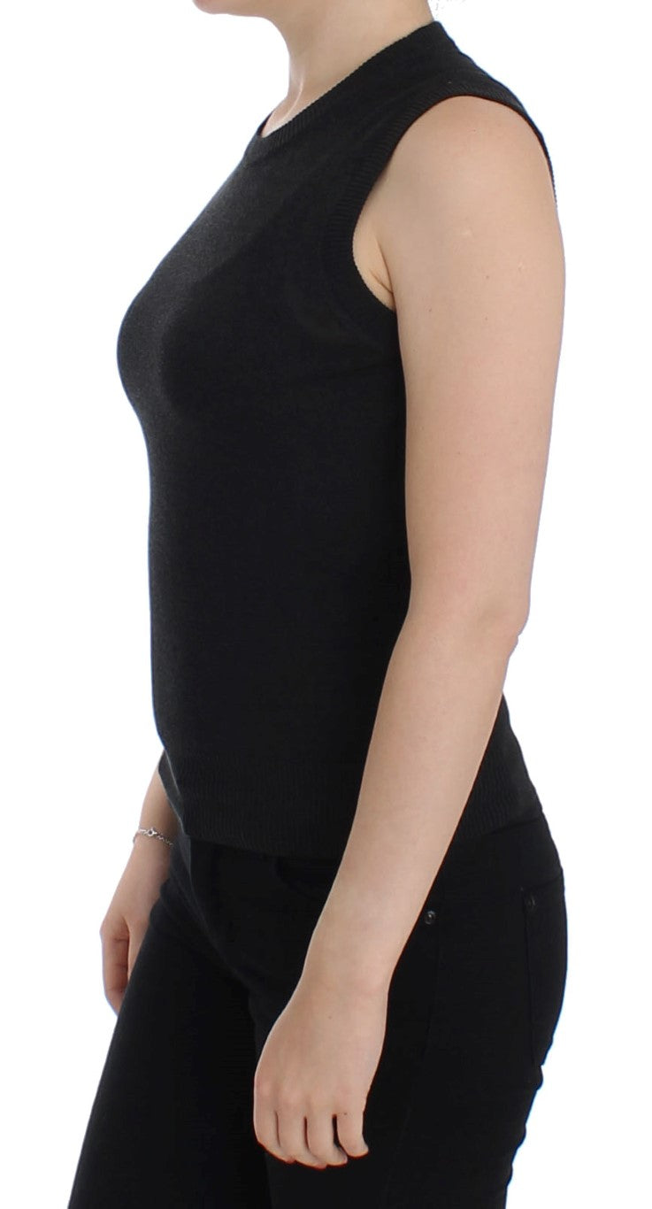 Black Sleeveless Crewneck Vest Pullover