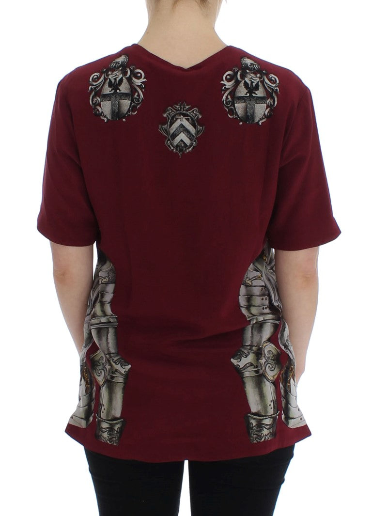 Red Knight Print Silk Blouse T-shirt