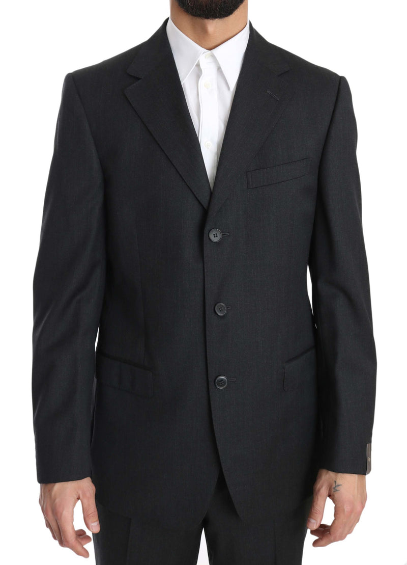 Solid Dark Gray Two Piece 3 Button Wool Suit