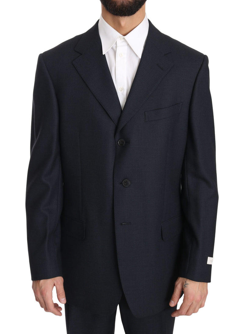 Blue Solid 2 Piece 3 Button Wool Suit