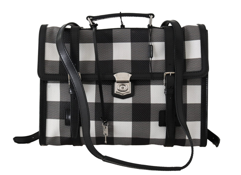 Black White Mesh Leather Laptop Mens Bag