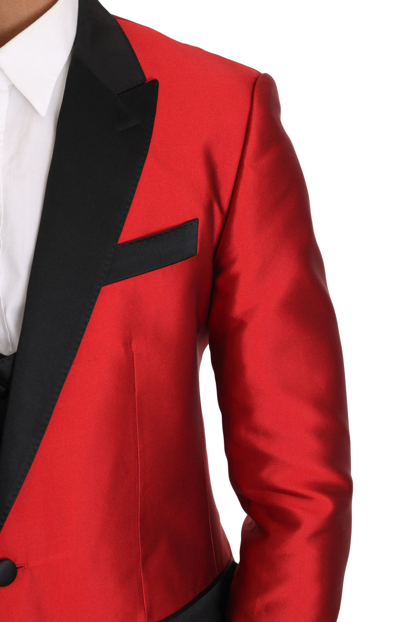 Red Black Silk 2 Piece Vest Blazer