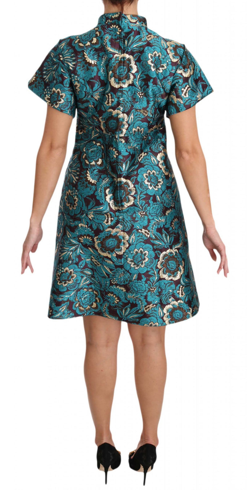 Blue Floral Jacquard Crystal A-Line Dress
