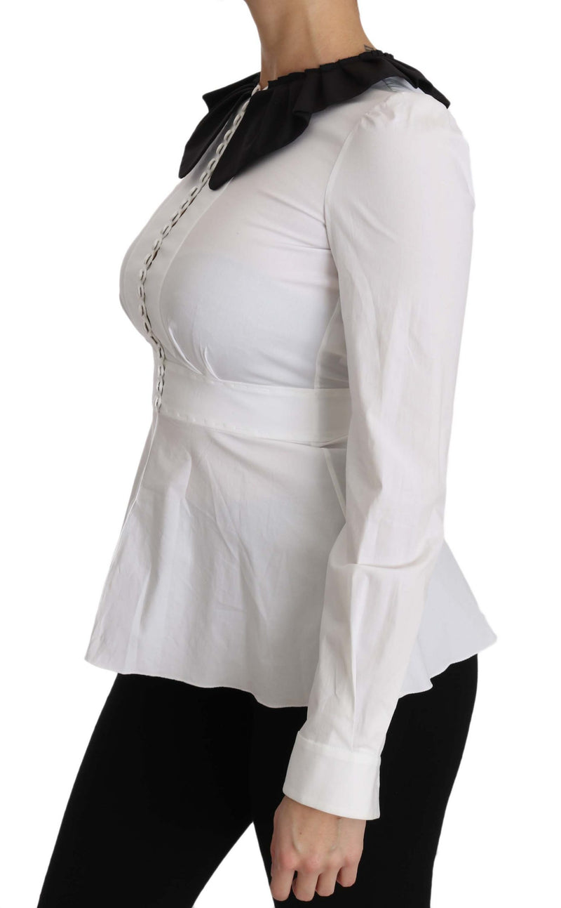 White Collar Cotton Longsleeve Blouse Top