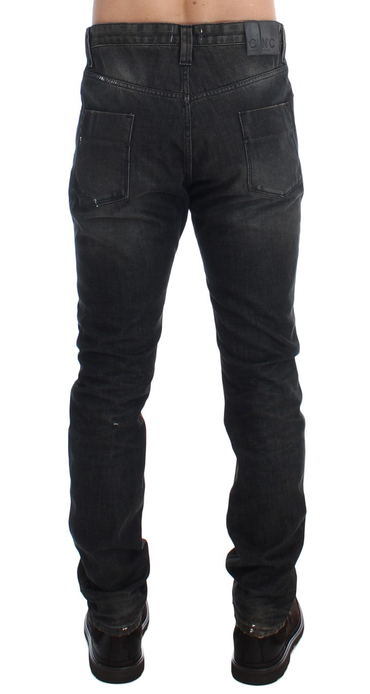 Gray Wash Slim Fit Cotton Denim Jeans