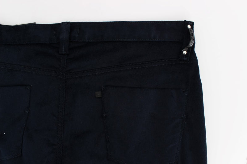 Blue Corduroy Slim Fit Pants Jeans